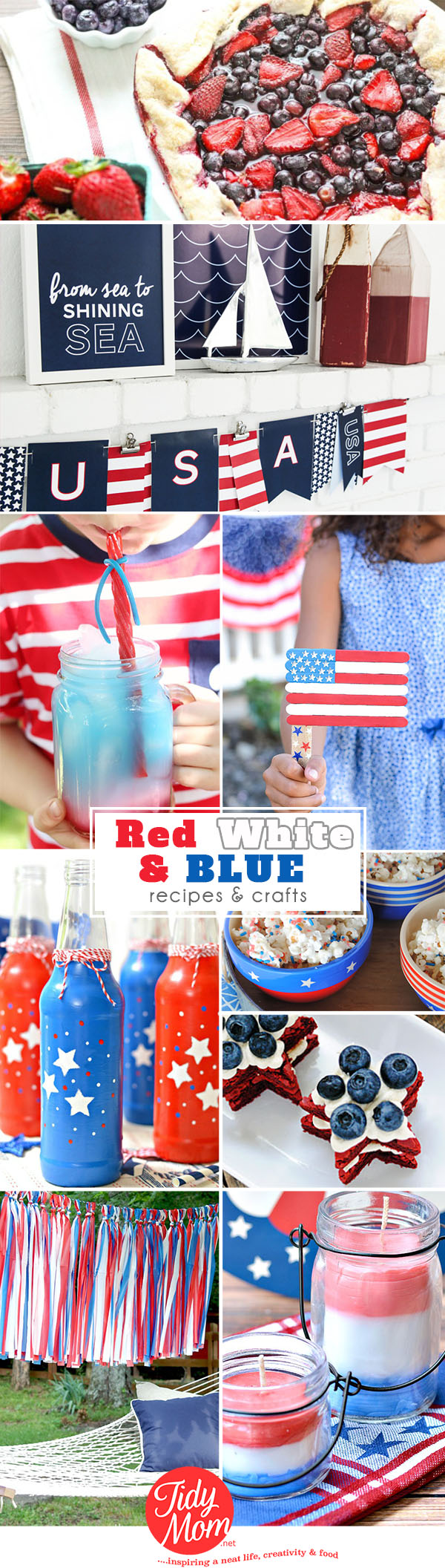 Three Cheers for the Red, White and Blue!! find patriotic recipes and craft ideas at TidyMom.net