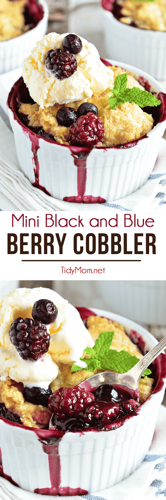 Berry Cobbler is a dessert classic everyone loves! Blackberries and blueberries are topped with a delicious biscuit like dough and baked in ramekins for the perfect single-serving dessert. Serve fresh out of the oven with scoop of ice cream and they are irresistible! Mini Black and Blue Berry Cobbler recipe at TidyMom.net #cobbler #dessert #dessertrecipes #blackberry #blueberry #pie