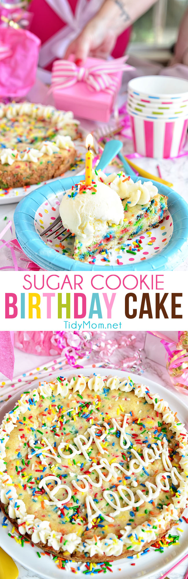 Do you love sprinkles in your birthday cake? This BIRTHDAY SUGAR COOKIE CAKE full of sprinkles! Funfetti lovers are going to flip for this homemade cookie cake. recipe at TidyMom.net #cookiecake #funfetti #birthdaycake #sugarcookie