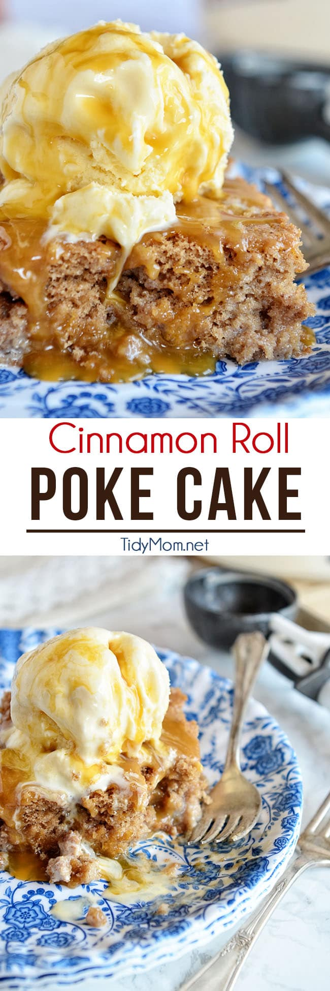 Cinnamon Roll Poke Cake tastes just like the gooey center of a cinnamon roll! Start with a spice cake mix and can of cream soda combined with sweetened condensed milk, top with vanilla ice cream and caramel sauce and you end up with the most delectable cake you've ever had! recipe + video at TidyMom.net #cinnamonroll #cake #pokecake #dessert