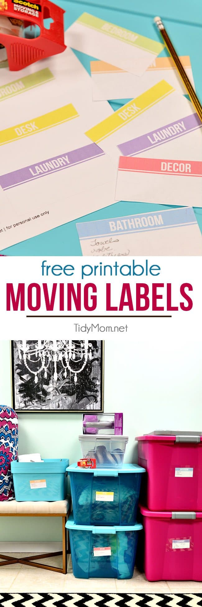 Free printable moving labels. Print on copy paper and cut out