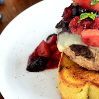 Grilled Monterey Jack Turkey Burger with Peaches and Blueberries