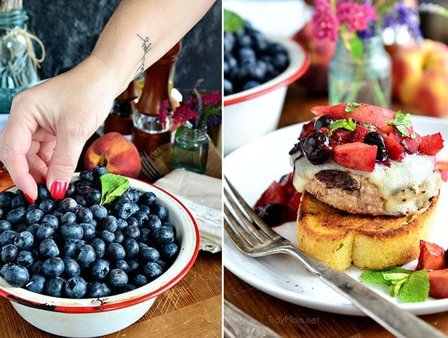 Grilled Turkey Cheese Burger with Peaches and Blueberries recipe at TidyMom.net