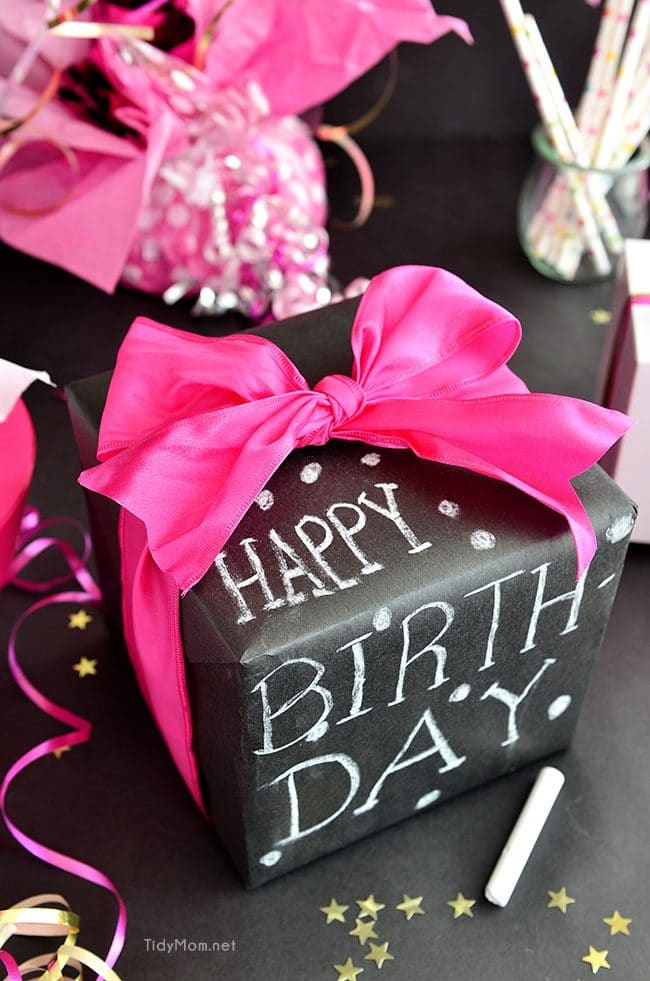 Such a fun inexpensive idea for gifting!!  DIY Chalkboard Gift Wrap with Scotch Brand Wrapping Tape and TidyMom.net