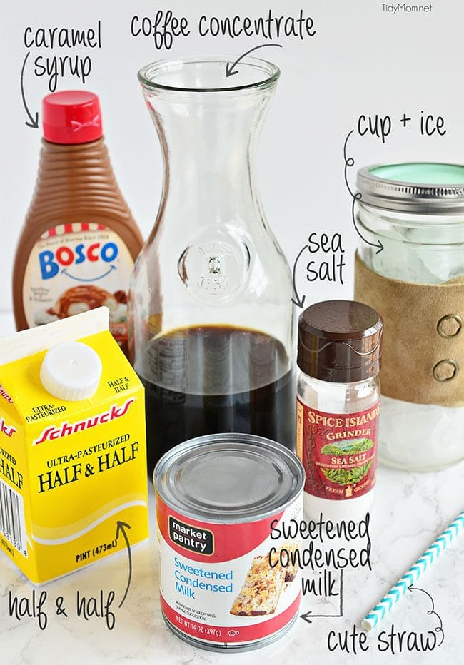 How to make Salated Caramel Iced Coffee at home!  Cheaper than a coffee shop and every bit as delicious!  recipe at TidyMom.net