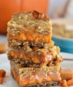 Pumpkin Spice Carmelitas stacked with 3 bars