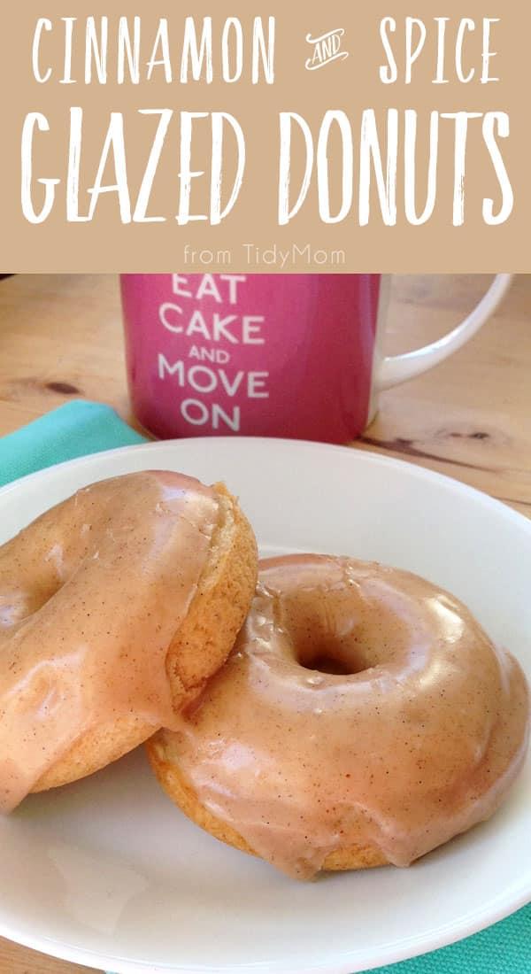 BAKED Cinnamon and Spice Vanilla Bean Glazed Donuts