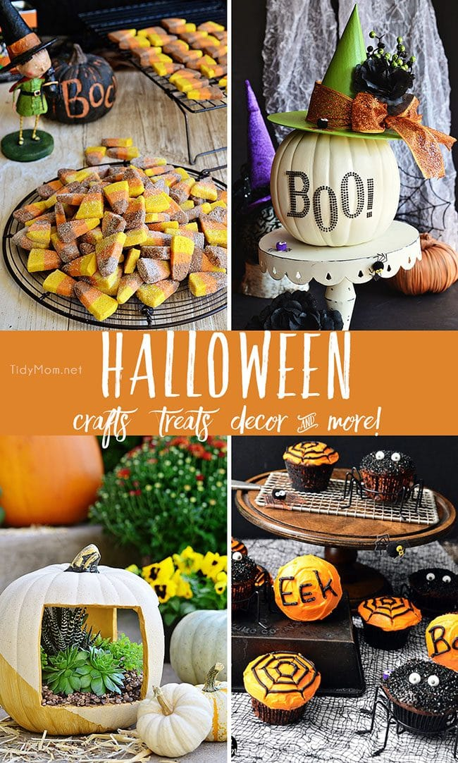 Halloween crafts, treats, recipes, decor and more at TidyMom.net