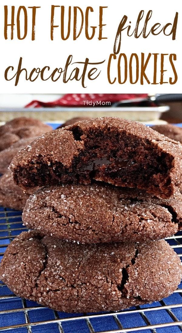 Hot Fudge Filled Chocolate Cookies recipe via TidyMom.net