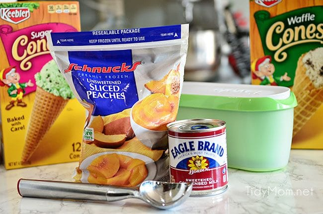 This 2 Ingredient Peach Sherbet recipe is so easy to make, no churning, no machine and if you like soft serve, this treat is ready to eat in 2 minutes!