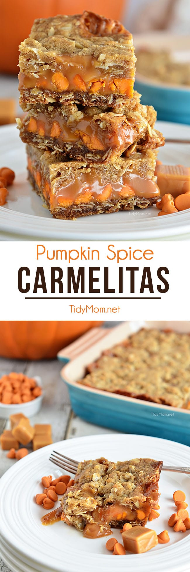 Whether for dinner guests, an after-school snack, or even a late night treat, these Pumpkin Spice Carmelita Bars are the perfect way to satisfy a sweet tooth. Find the printable recipe + how-to video at TidyMom.net #carmelitas #pumpkin #pumpkinrecipes #pumpkinspice #dessert #fall