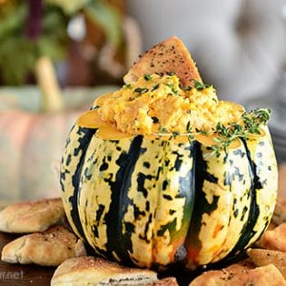 Butternut Squash Smoked Gouda Cheese Dip perfect for fall entertaining! Make this dip extra special by serving in a pumpkin! Get the recipe and holiday entertaining tips at TidyMom.net