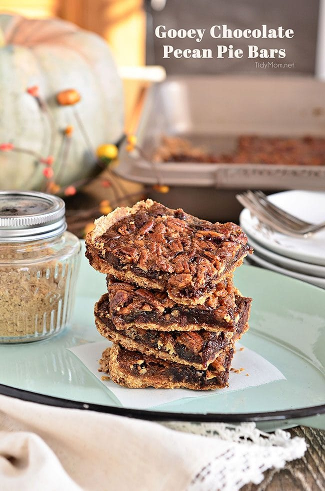Fingers were licked, not a crumb left on a plate. This pecan pie bar recipe just may replace the pie altogether. Gooey Chocolate Peacan Pie Bars at TidyMom.net