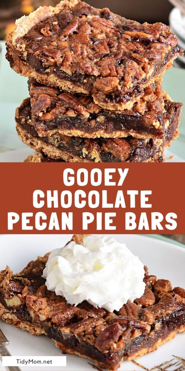 chocolate pecan pie bars on a plate