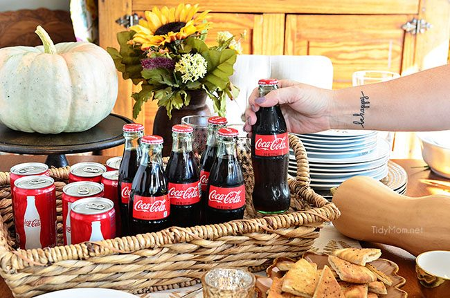 Serve ice cold Coca-Cola for your holiday guests. Get the recipe for a delicious fall dip and holiday entertaining tips at TidyMom.net