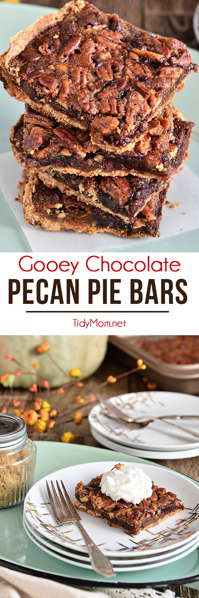 Fingers were licked, not a crumb left on a plate. This pecan pie bar recipe just may replace the pie altogether. Gooey Chocolate Pecan Pie Bars at TidyMom.net #pecanpie #chocolate #dessertbars #recipe