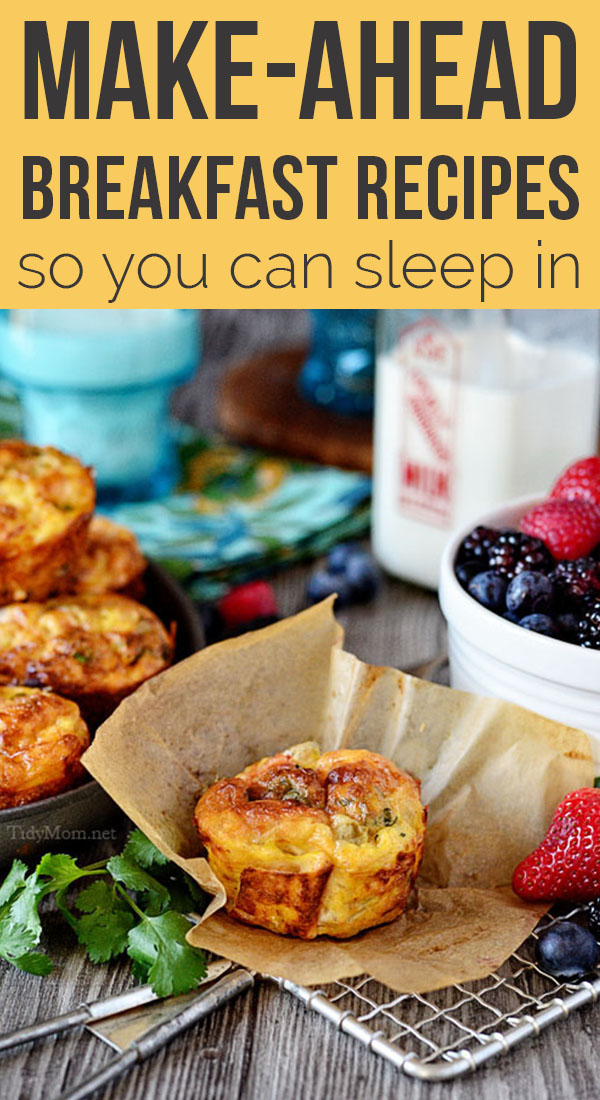Make Ahead Breakfast Recipes so you can sleep in and eat well all week. These go-to breakfast recipes are a great way to keep guests' bellies full and your stress levels to a minimum