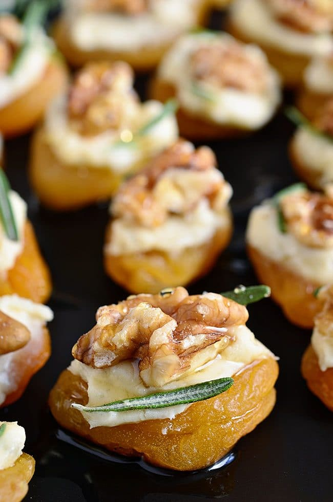 Dried Apricot Blue Cheese Canapes with Walnuts close up image