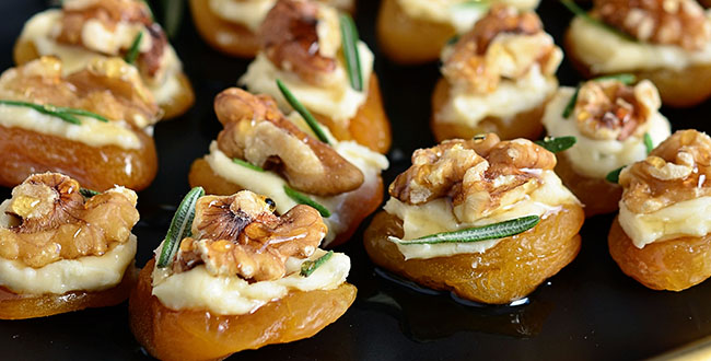 Dried apricot and blue cheese canapes with walnuts tidymom for Cheese canape ideas