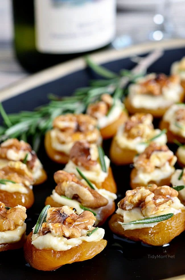Dried Apricot Blue Cheese Canapes on tray
