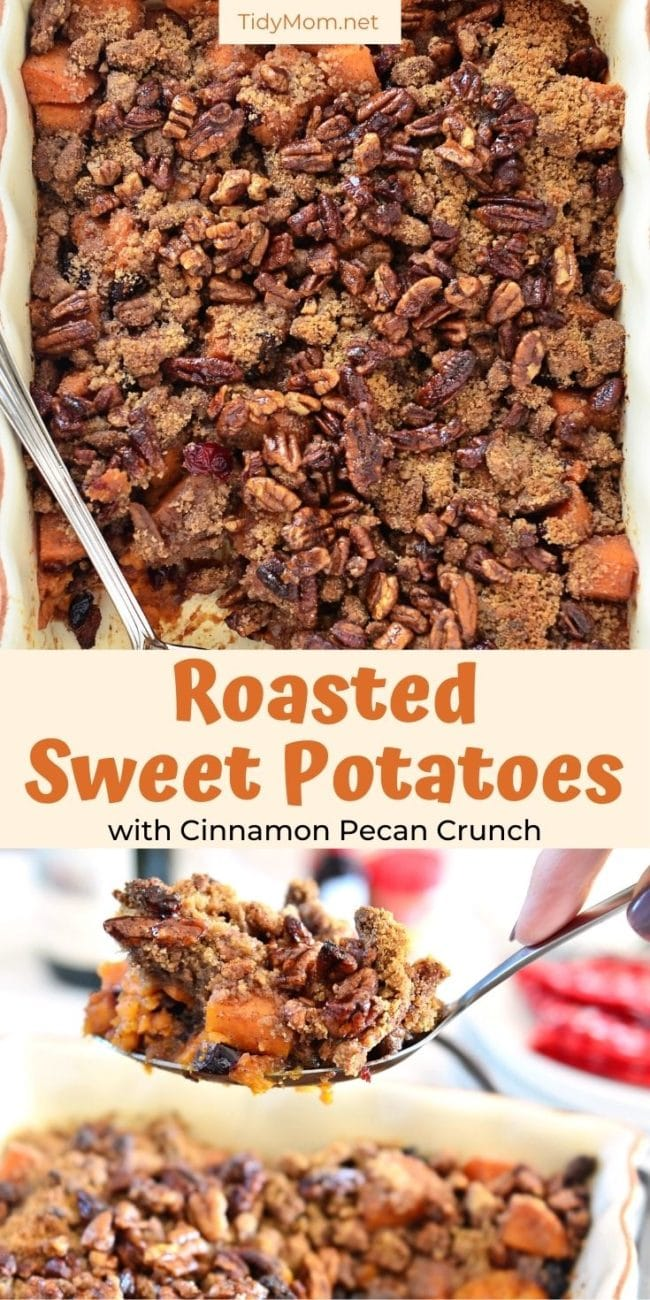 sweet potato casserole in a baking dish and on a spoon