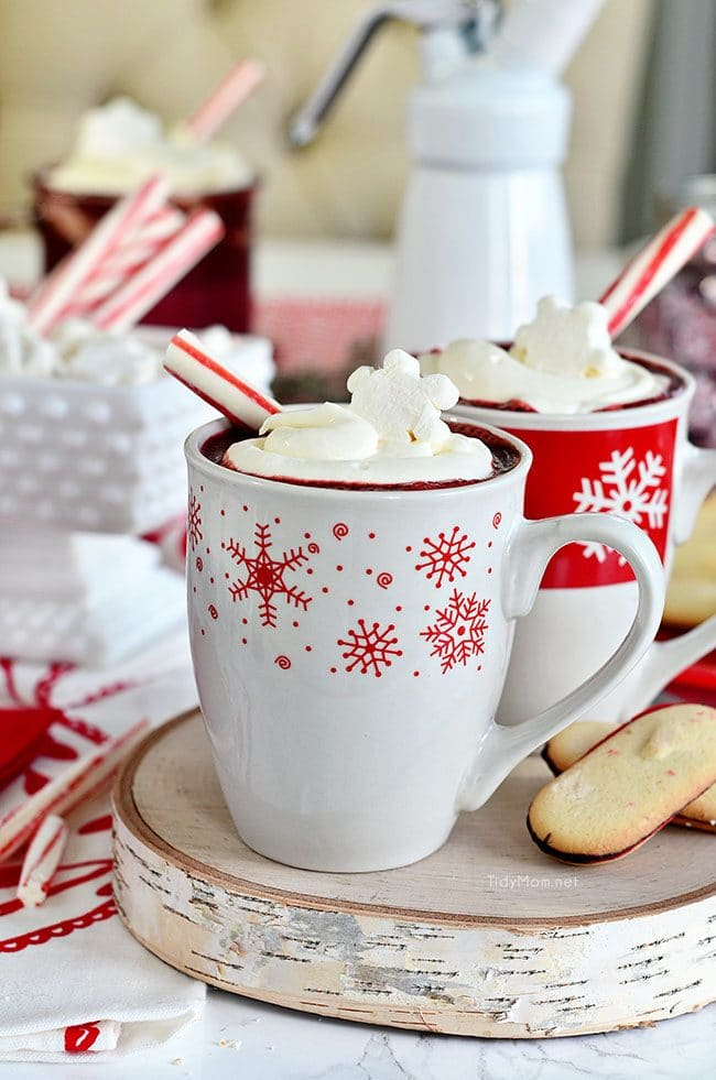 Red Velvet Hot Chocolate in snowflake mugs