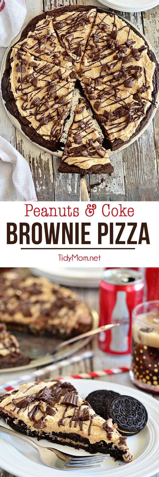 Deep fudgy brownies and peanut butter cookies serve as the crust for a peanut butter and candy-topped brownie pizza Peanuts in My Coke! Peanut & Coke Brownie Pizza recipe at Tidymom.net #brownies #dessertpizza #cocacola #coke #chocolate #peanutbutter