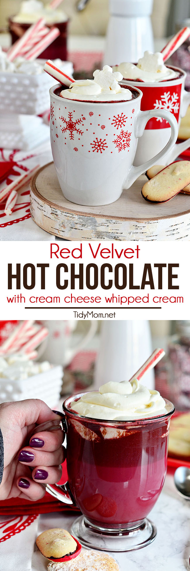 RED VELVET HOT CHOCOLATE is perfectly creamy, velvety and sweet, with a rich flavor. The cream cheese whipped cream on top really sets it this recipe apart. It meets your lips with a distinctively warm, round, sweet note of vanilla along with a sweet tangy surprise in every sip. Print the full recipe + watch recipe video at TidyMom.net #redvelvet #hotchocoalte  via @tidymom