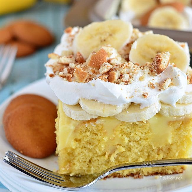 close up of a piece of Banana Pudding Poke Cake