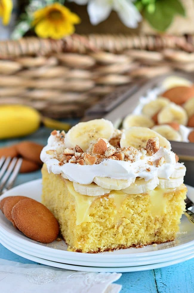 Everything to love about banana pudding comes together in this easy, crowd-pleasing Banana Pudding Poke Cake recipe at TidyMom.net