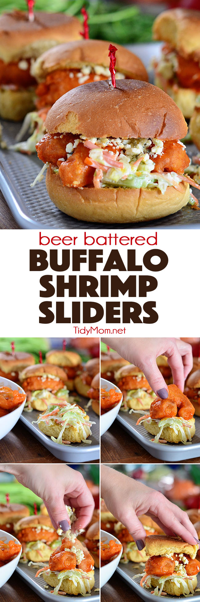 Perfectly crunchy BEER BATTERED BUFFALO SHRIMP SLIDERS are insanely delicious and pack a lot of flavor in every bite.   Serve as a fun family meal or as an appetizer at your next party. Print the full recipe at TidyMom.net #shrimp #sliders #sandwiches #buffalo
