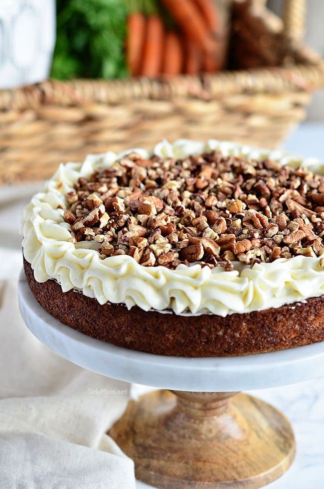 the best homemade carrot cake on cake stand