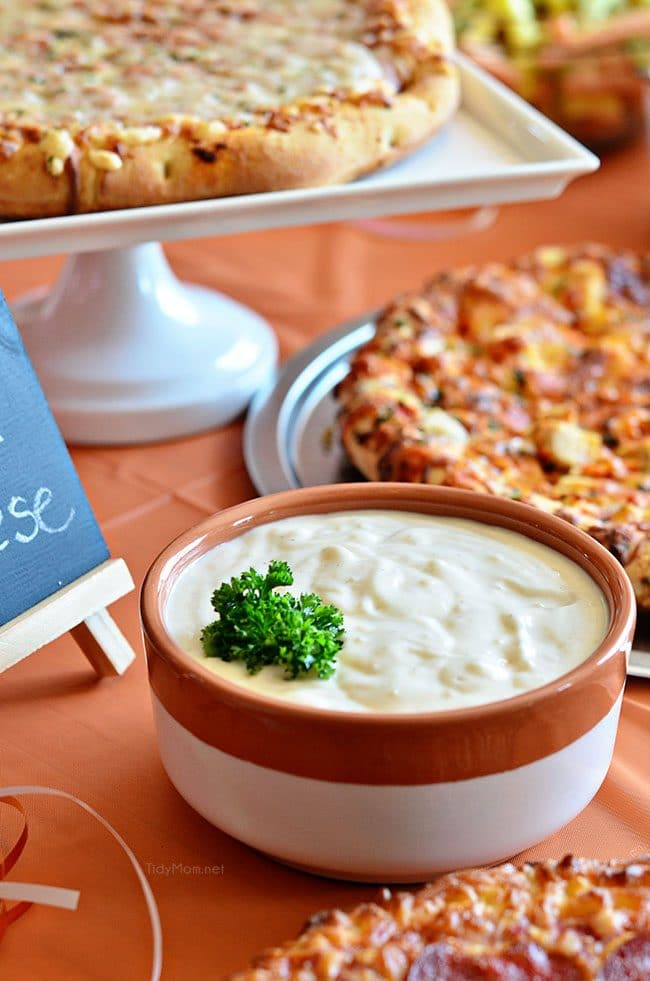 Serve ROASTED GARLIC AIOLI along side, pizza, french fries, veggies and so much more! Aioli recipe and basketball pizza party details at TidyMom.net