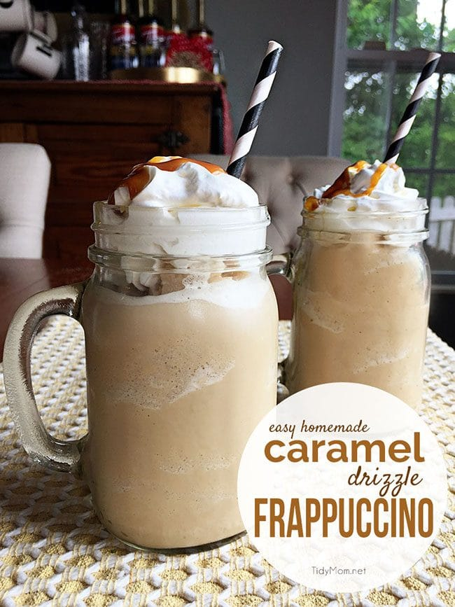 Homemade Caramel Drizzle Fappuccino is so easy to make at home and much cheaper than hitting up the coffee shops! get the recipe and directions for this frappuccino at TidyMom.net