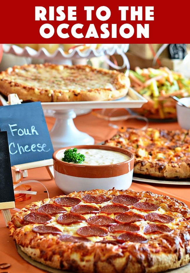 Throw a pizza party! Serve DiGIORNO Pizza, several dipping sauces, chips, veggies and cupcakes for stress free planning. ROASTED GARLIC AIOLI RECIPE at TidyMom.net