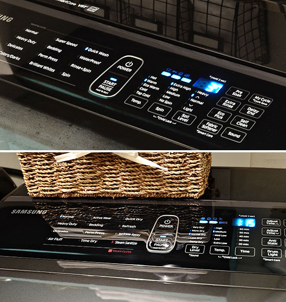 Samsung washer and dryer Integrated Touch Controls