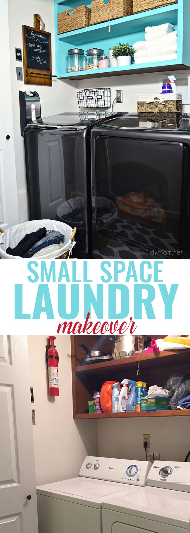 From drap to fab small space laundry makeover! a little fresh paint, organization accessories and Samsung activewash Washer and Dryer give this small laundry closet a fun facelift! A real laundry room with practical ideas at TidyMom.net