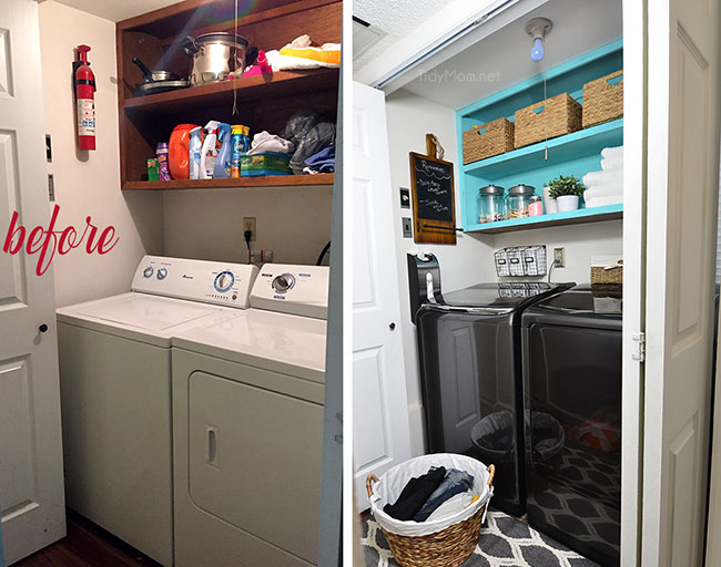 From Drap To Fab Small Space Laundry Makeover A Little Fresh Paint Organization Accessories