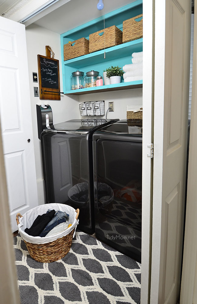 Small space laundry makeover from drab to fab tidymomr for Laundry room redo blog