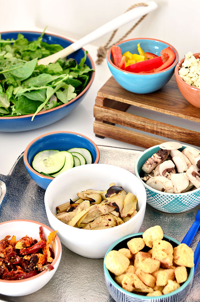Girls Night Pizza Party! While the pizza bakes for 20 minutes, set up a salad bar! Details at TidyMom.net
