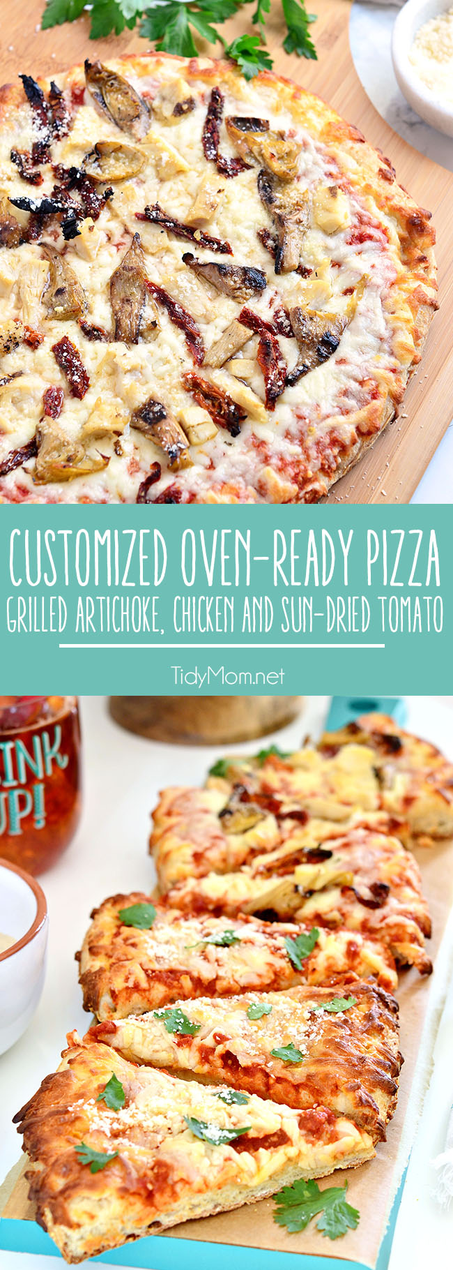 Customize an oven-ready cheese pizza with your own toppings. Grilled artichokes, chicken sun-dried tomato pizza topped with parmesan cheese was a big hit at our Girls Night Pizza Party! Details at TidyMom.net