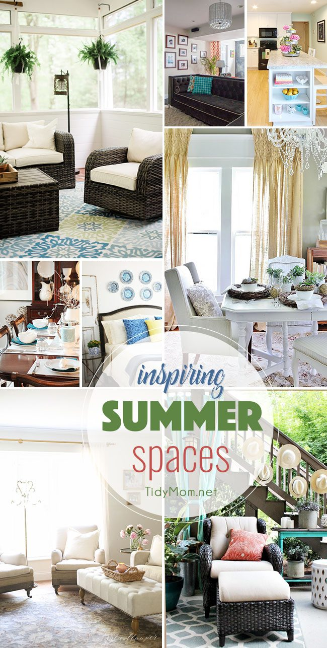 Inspiring Summer Spaces, Makeovers and Home Tours. From basements to dinning rooms to patio you're sure to be inspired by these beautiful summer spaces at TidyMom.net