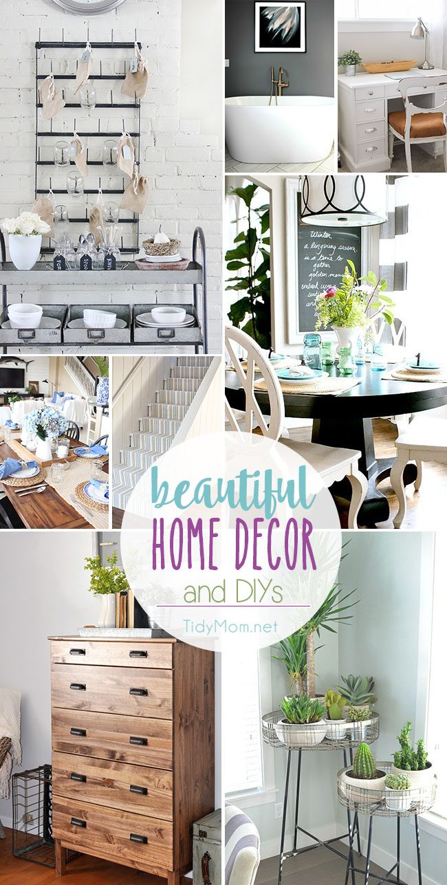 Beautiful Home Decor Ideas and DIY's. From a farmhouse kitchen, to a modern grey and white bathroom, to thirfty decor and basement stairs on a budget. You're sure to find plenty of inspiration for your home at TidyMom.net