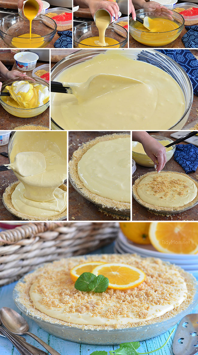 If you are a fan of the ice cream truck classic,orange creamsicles, or dreamsicles, you're going to love this Frozen Creamsicle Pie. It's the perfect summer treat. Find the printable recipe at TidyMom.net