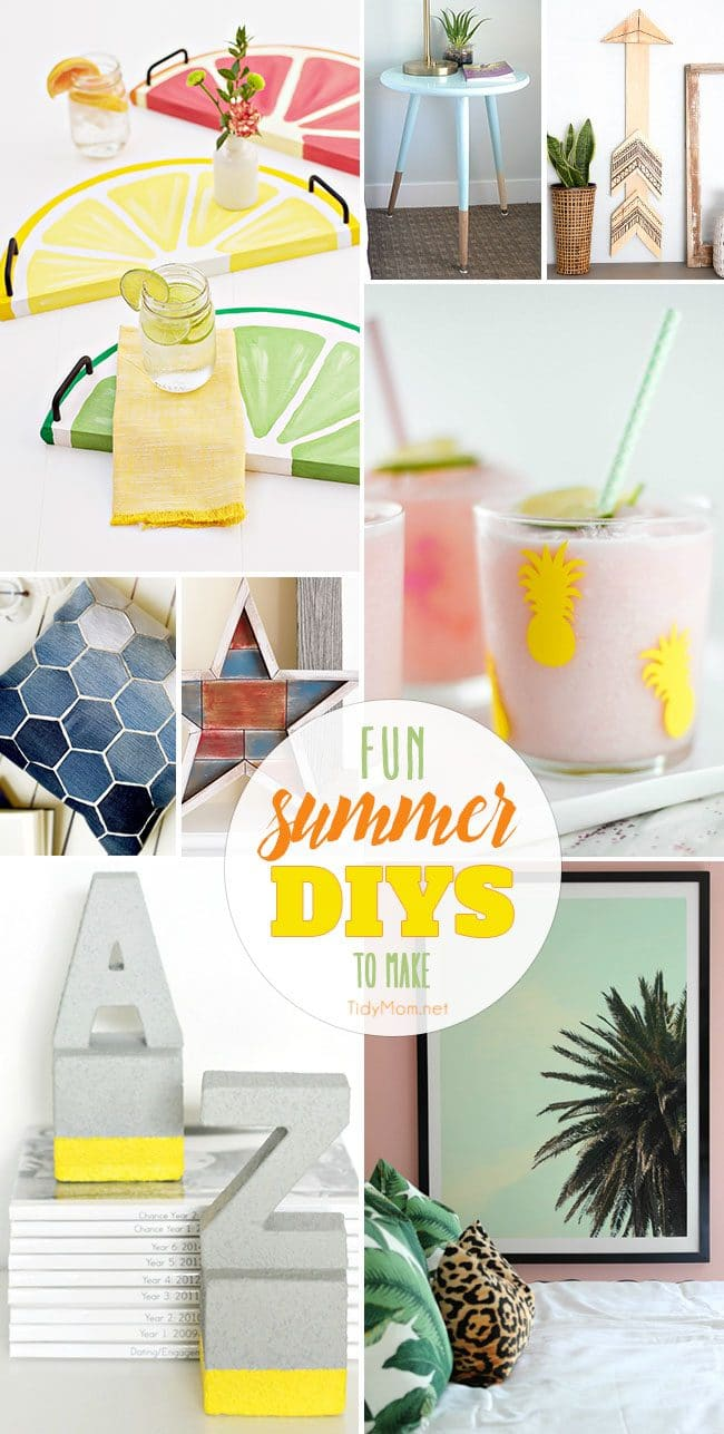 Fun Summer DIYS to Make this Weekend! From citrus fruit serving trays and DIY party glasses to denim hexigon pillows and faux cement bookends you're sure to find a fun DIY project to make in a flash. Tutorial details at TidyMom.net