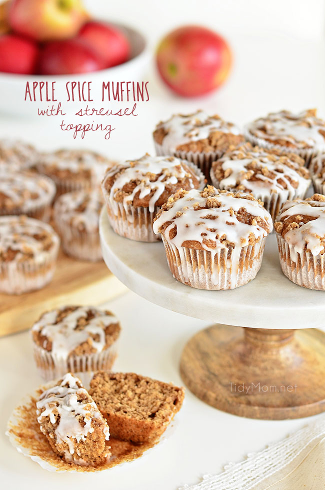 Apple Spice muffins with Streusel Topping on cake stand