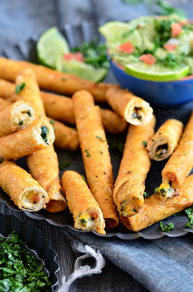 Avocado Creme Sauce with Crunchy Chicken and Cheese Taquitos at TidyMom.net