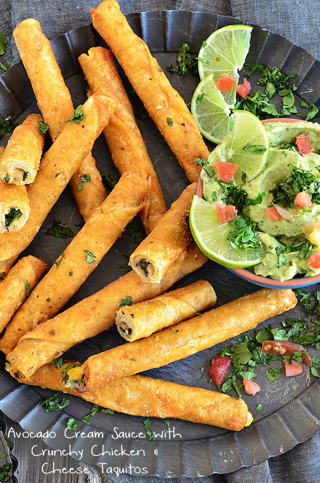 Avocado Cream Sauce with Crunchy Chicken and Cheese Taquitos at TidyMom.net