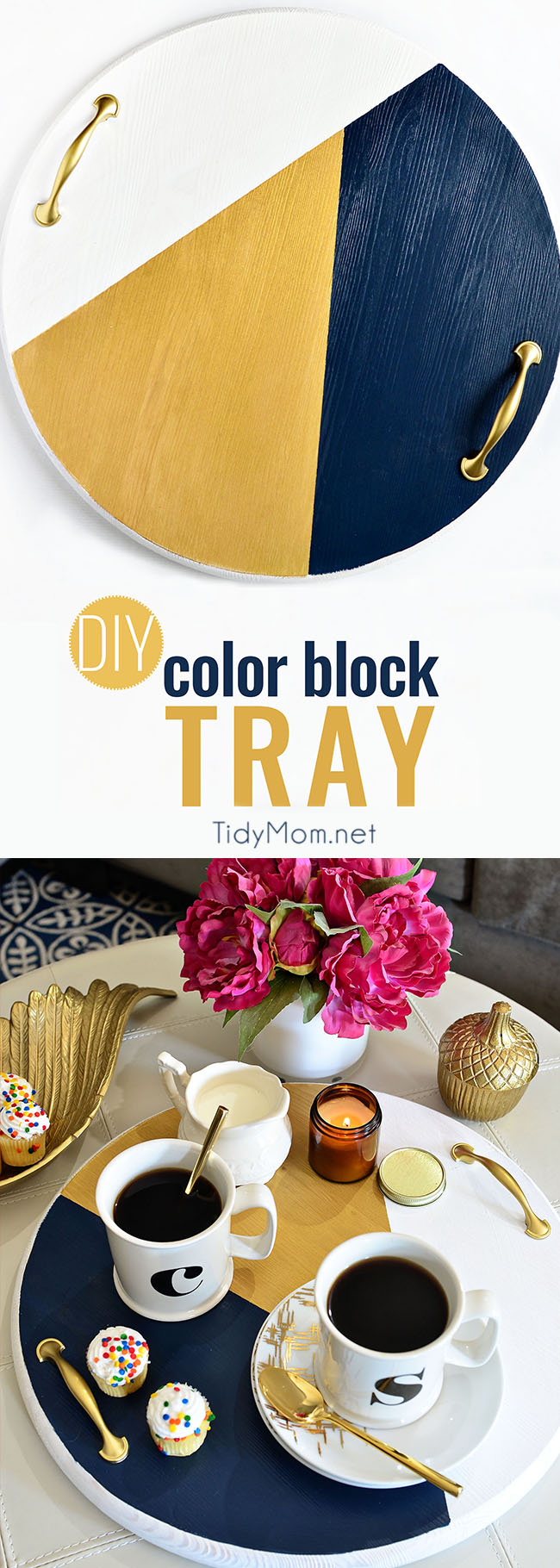 A bold colorful tray is a perfect way to add a pop of color to a space and use it as a serving tray when entertaining. The color blocking gives this tray a modern look while the touch of gold adds a little elegance!  Get the full tutorial to make your own DIY Color Block Tray at TidyMom.net #diy #crafts #colorblock #crafting #handmade