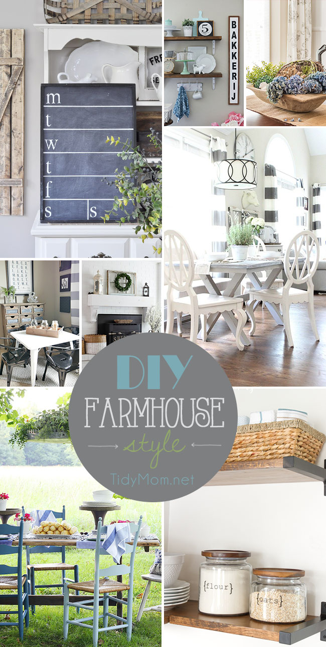 If you like farmhouse style decor, you're going to love this DIY Farmhouse Style round up of ideas for decorating your home!